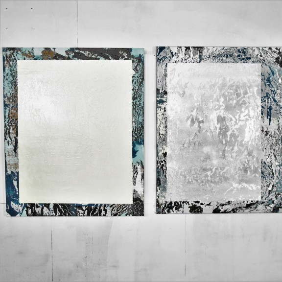 Almost Blue I & II, 107x89/85, mixed media on plywood/canvas